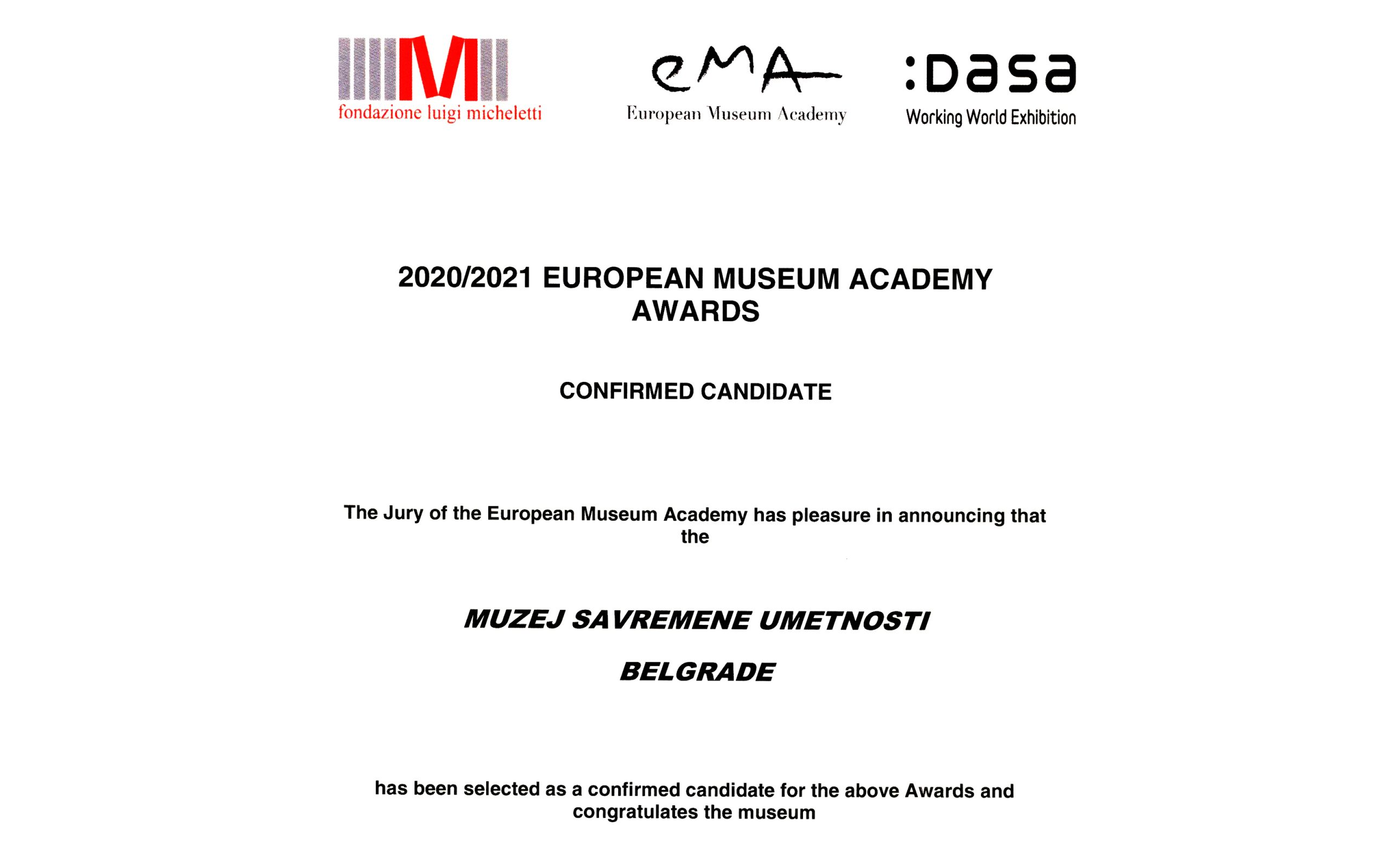 MSUB kandidat za nagradu European Museum Academy